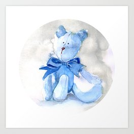 Blue Watercolor Teddy Art Print