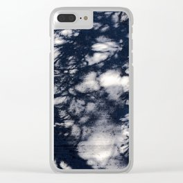 Navy Blue Pine Tree Shadows on Cement Clear iPhone Case
