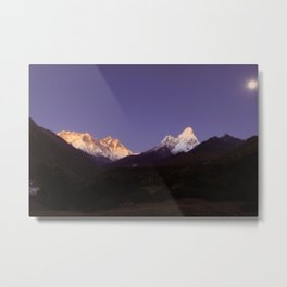 SUNSET/MOONRISE ON AMA DABLAM Metal Print