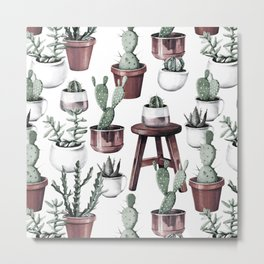 Happy Potted Cacti in Rose Gold Pots Metal Print