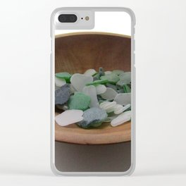 Green and White Sea Glass Clear iPhone Case