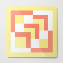 Squares Yellow + Salmon Metal Print