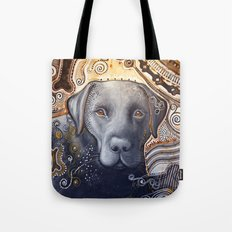 Rudy ... Abstract dog art, Black Labrador Tote Bag