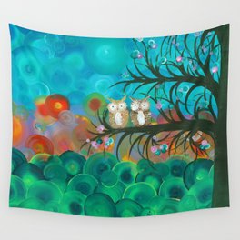 Owl Art by MiMi Stirn - Owl Couples# 341 Wall Tapestry