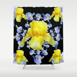 YELLOW & BLUE-WHITE IRIS BLACK ABSTRACT PATTERN Shower Curtain
