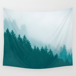Green Mountain Fog Wall Tapestry