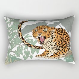 Leopards in the jungle pattern. Rectangular Pillow