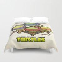 ninja turtles Duvet Covers featuring Kawaii Mutant Ninja Turtles by Squid&Pig