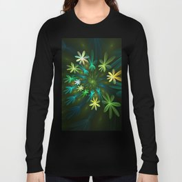 Fantasy Flowers, Fractal Art Long Sleeve T-shirt