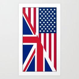 American and Union Jack Flag Art Print