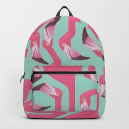 Flamingo Maze on beach glass background. Backpack