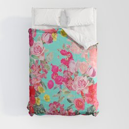 Bright Turquoise/Teal  Antique inspired Floral Print With Hot pink, baby Pink, Coral and Yellow Comforters