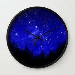 Blue Galaxy Forest Night Sky Wall Clock