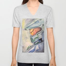 Halo gaming watercolor design Unisex V-Neck