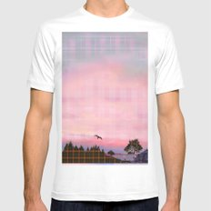 Plaid Landscape Tranquil Sunset Mens Fitted Tee White MEDIUM