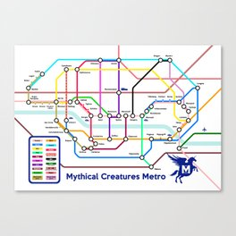 Mythical Creatures Subway Map Canvas Print