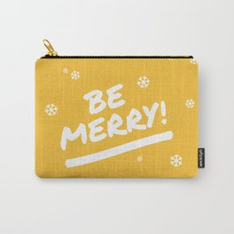 Mustard Yellow Be Merry Christmas Snowflakes Carry-All Pouch