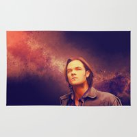 winchester Area & Throw Rugs featuring Sam Winchester - Supernatural by KanaHyde