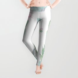 Simply Echeveria Cactus in Pastel Cactus Green and Pink Leggings