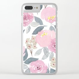 Flowers in Pink Clear iPhone Case