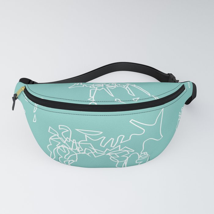Animals mint and white pattern Fanny Pack