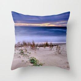 Windy. Blue sea Throw Pillow
