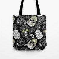 sugar skulls Tote Bags featuring Sugar Skulls by Zen and Chic