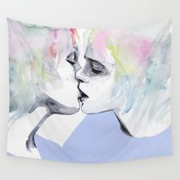 lonely Wall Tapestries featuring lonely boy, lonely girl by agnes-cecile