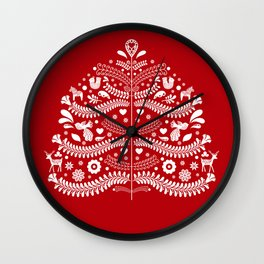 Scandinavian Folk Art Christmas Tree Wall Clock
