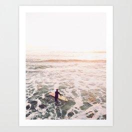 surf summer sunset Art Print