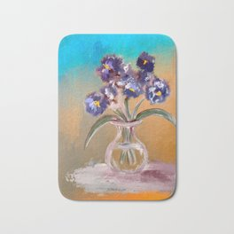 Purple And Blue Pansies In Glass Vase Bath Mat