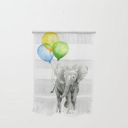 Elephant Watercolor Baby Animal with Balloons Blue Yellow Green Wall Hanging