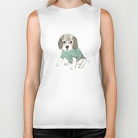 puppy Biker Tanks featuring puppy by maria elina
