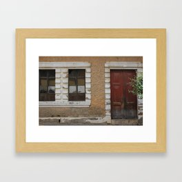Weathered Door and Broken Windows Framed Art Print