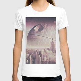 Death Star Over New York T-shirt