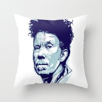 tom waits Throw Pillows featuring Tom Waits Portrait by Brian Yap