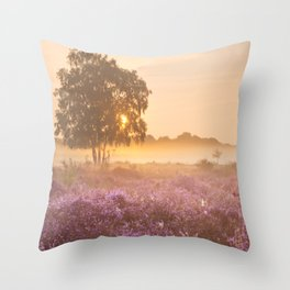 I - Fog over blooming heather near Hilversum, The Netherlands at sunrise Throw Pillow