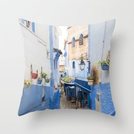 Hidden Alleyways of Chefchaouen, Morocco - The Blue City Throw Pillow