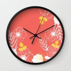 Coral Retro Floral Wall Clock