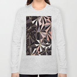 Stylish Art Deco Geometric Pattern - Black, Coral, Gold #abstract #pattern Long Sleeve T-shirt