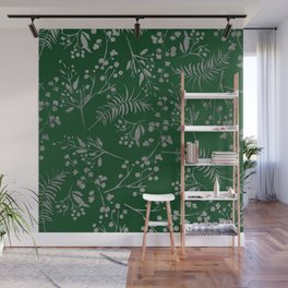 Forest green country chic faux silver floral leaves Wall Mural