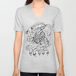 Dragon and human Unisex V-Neck