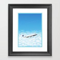 Plane through clouds Framed Art Print