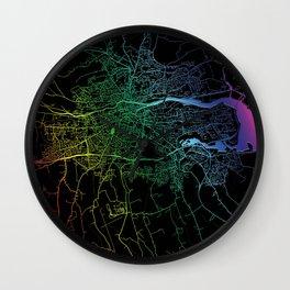 Cork, Ireland, City, Map, Rainbow, Map, Art, Print Wall Clock
