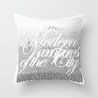 modern vampires of art history Throw Pillows featuring Modern Vampires of the City by Tony Truong