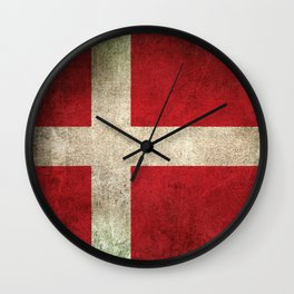 Old and Worn Distressed Vintage Flag of Denmark Wall Clock