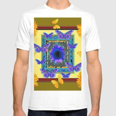 KHAKI PURPLE & YELLOW BUTTERFLIES SUNFLOWER Mens Fitted Tee White MEDIUM