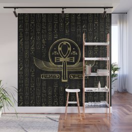 Egyptian Cross - Ankh - Gold and black Wall Mural