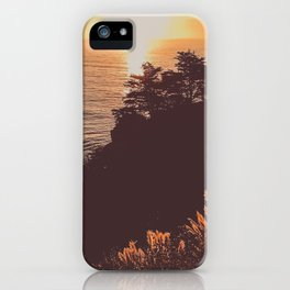 sunlit cattails and silhouette trees at sunset on the ocean iPhone Case