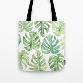 Monstera leaves Jungle leaves Palm leaves Tropical Tote Bag